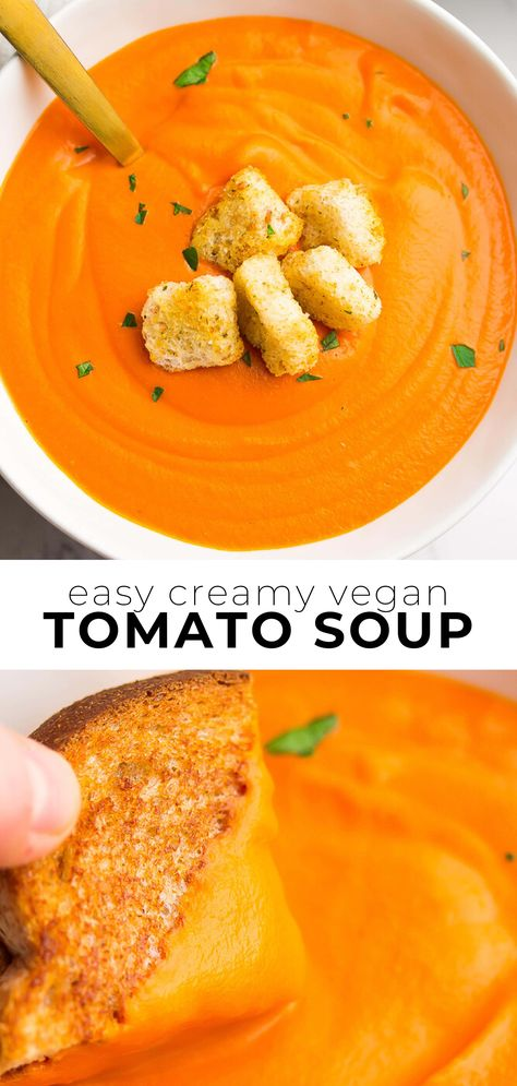 Easy Vegan Tomato Soup Learn how to make the BEST Vegan Tomato Soup ever! Silky smooth, dairy free but creamy and made with simple ingredients you probably have in your pantry right now. Vegan Tomato Soup, Vegan Soups, Vegan Dishes, Easy Vegan Soup, Vegan Tomato Recipe, Dairy Free Tomato Soup, Tomato Soup Grilled Cheese, Tomato Tomato, Easy Vegan Dinner