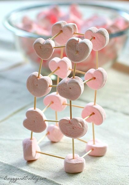 Heart marshmallow toothpick structures for Valentine's Day!
