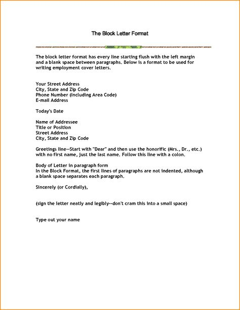 business letter block format example with modified style open - delegation letter