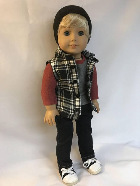 """Plaid Shorts Set for American Girl or Boy 18/"""" Doll Clothes LOVV THAT LOVVBUGG!"""