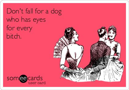 Don't fall for a dog who has eyes for every bitch.
