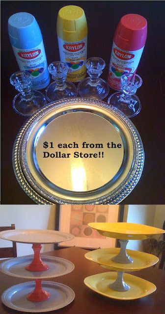 Spring Trays from dollar store platters and candle holders.