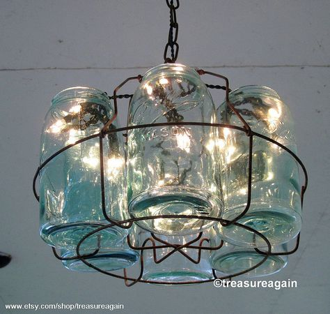 Vintage Chandelier Antique Mason Jar Chandelier, 6 Sloped Blue Mason Jars and Wire Basket , Upcycled Lighting, Weddings, Garden Party is part of garden Furniture Mason Jars - Do not use images without my permission Please Be Kind & don't copy my design Mason Jar Chandelier, Mason Jar Lighting, Vintage Chandelier, Vintage Lighting, Make A Chandelier, Kitchen Lighting, Wire Basket Chandelier, Gazebo Chandelier, Entry Chandelier