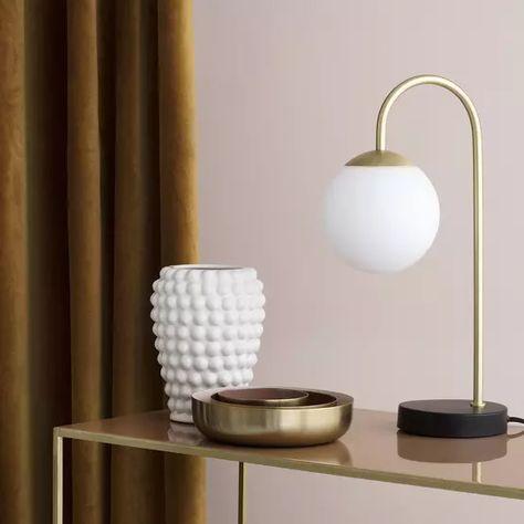 Lampe De Table Doree Retro Art Deco Caspa Single De Broste