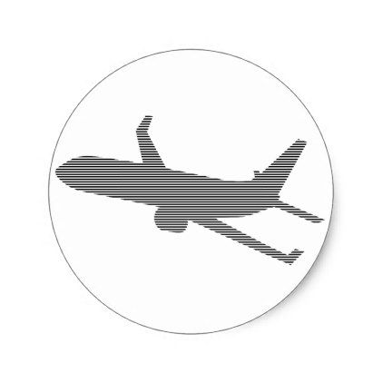 Airplane Strips Black And White Classic Round Sticker Black