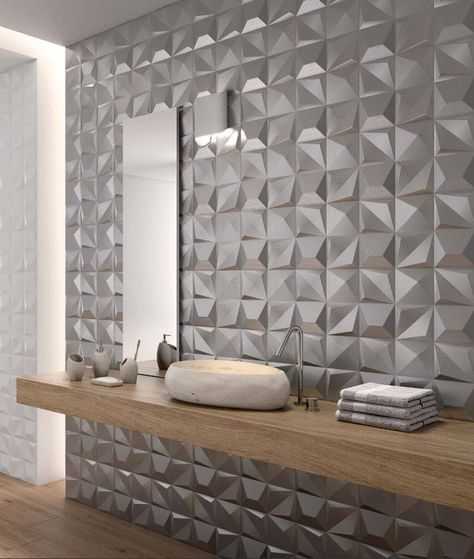 The Angles And Textures Of These New Shapes 3 D Tiles By Dune Capture And Reflect Light Beautifully And B Wall Tiles Design Bathroom Interior 3d Tiles Bathroom