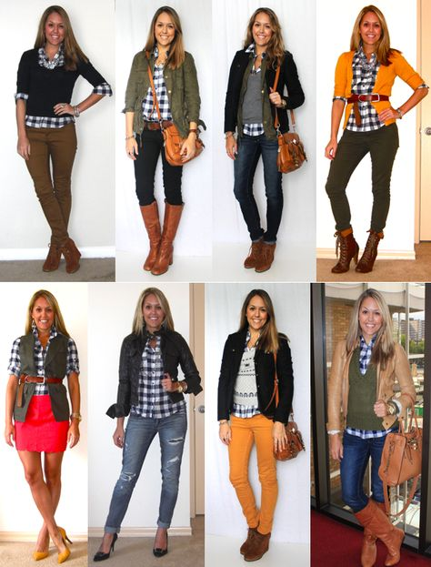 Multiple ways to wear a blue plaid shirt. From J's Everyday Fashion.