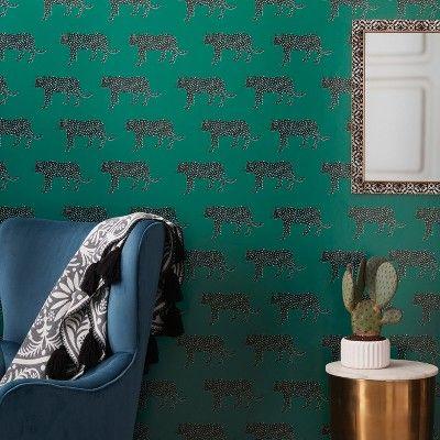 Panther Peel Stick Wallpaper Green Opalhouse Removable Wallpaper Opalhouse Peel And Stick Wallpaper