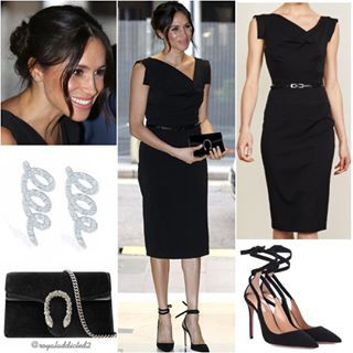 Meghan Markle Style Dress Black Halo 375 Shoes Aquazzura 750 Clutch Gucci 690 Jewels Maison B Meghan Markle Style Meghan Markle Outfits Fashion