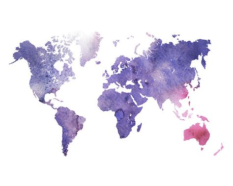 Purple Watercolor World Map | Sticker