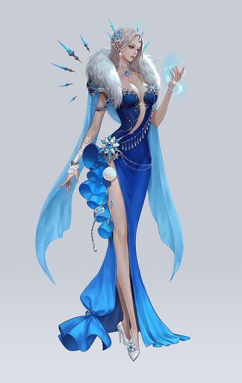 Fantasy Queen, Fantasy Art Women, Beautiful Fantasy Art, Fantasy Girl, Fantasy Character Design, Character Design Inspiration, Character Art, Queen Art, Ice Queen