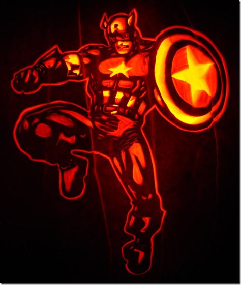 Captain America Pumpkin Carving
