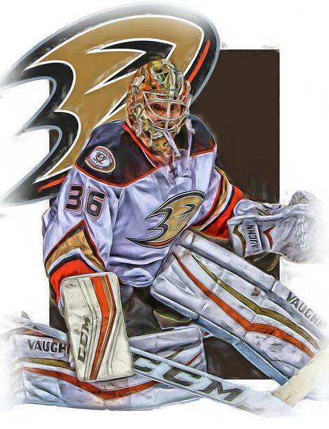 John Gibson Print featuring the mixed media John Gibson Anaheim Ducks Oil Art by Joe Hamilton