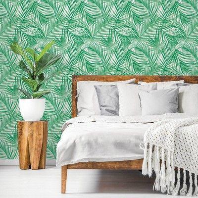 Tropical Peel Stick Wallpaper Green Opalhouse Peel And Stick Wallpaper Tropical Wallpaper Tropical Bedrooms