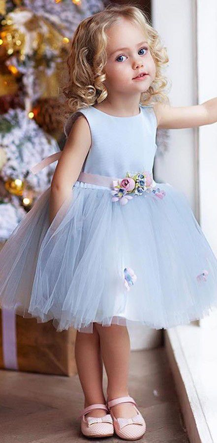 e15e5e5722d Light blue knee length flower girl dresses with flower belt. Flower Girl  Dresses, Baby