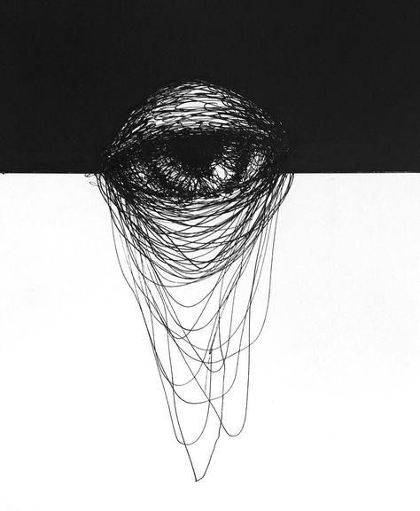 Ballpoint and marker pen on paper 21 x 14.8 cm. Available from nadiaarnold.com #black #line #drawing #eye #order #chaos #blackandwhite