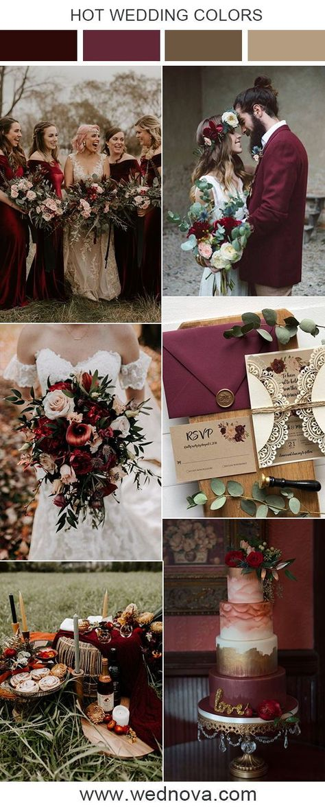 Burgundy wedding color inspiration #wedding #weddingcolor #weddingcolorschemes #weddings #weddingideas #weddinginspirations #fallwedding #burgundywedding