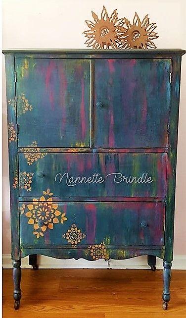 Sweet Boho Hand Painted Dresser Boho Furniture Funky Painted