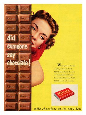 vintage chocolate ads and poster design | BP026 - Nestle Milk Chocolate, Vintage Advert, 1950s (30x40cm Art ...