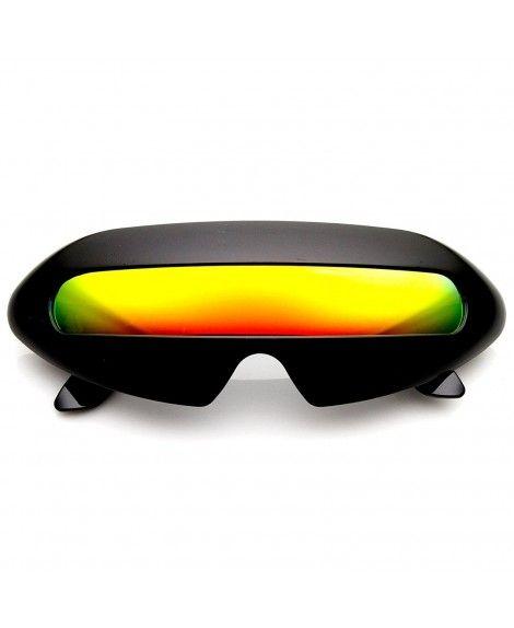 621fd6fcd16 KUSH - Large Shield Futuristic Styling Mirror Lens Sunglasses (Black Ice)  Kush