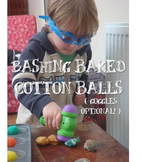 Bashing baked cotton balls (goggles optional!) ... this entire blog is fantastic for moms of boys!  Really wonderful outside ideas that are low maintenance!