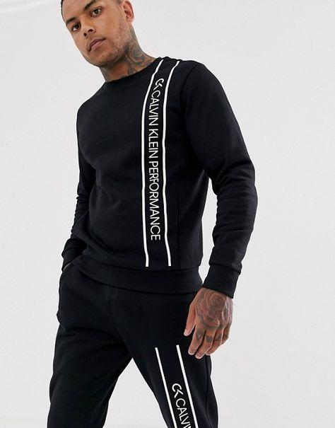 Calvin Klein Performance logo crew neck sweat in black Eternity Calvin Klein, Calvin Klein Men, Latest Mens Fashion, Men Fashion, Boys Shirts, Mens Clothing Styles, Mens Sweatshirts, Mens Suits, Sport Outfits
