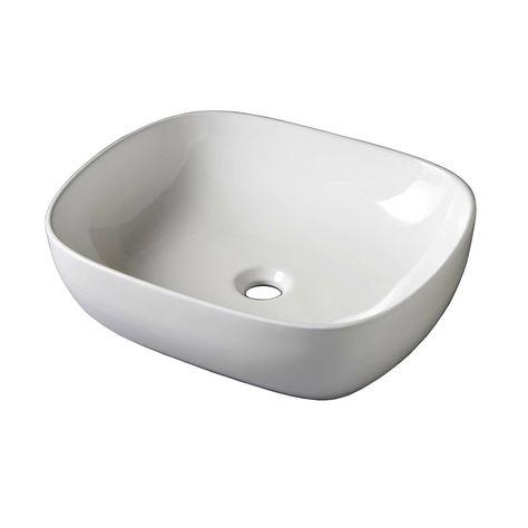 Vasque A Poser Ceramique L 49 5 X P 40 5 Cm Blanc Zelie Vasque A Poser Vasque Plan Vasque