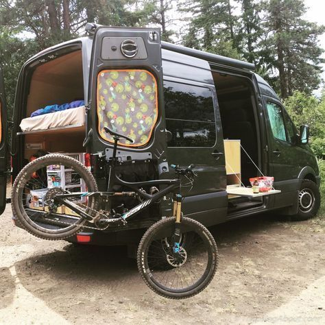 Bike Repair Stand And Side Table Showing Their Utility After A Mtb Ride Bikerepair Bikerepairdiy Sprinter Camper Diy Sprinter Camper Sprinter Van Camper