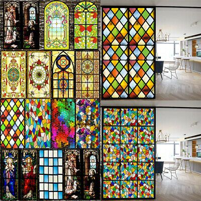 Privacy 3d Static Cling Frosted Stained Window Film Self Adhesive Glass Sticker Ebay In 2020 Stained Glass Window Film Adhesive Window Film Window Film