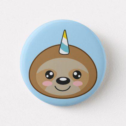 Slothicorn Cute Unicorn Kawaii Cartoon Sloth Button Girl Gifts Special Unique Diy Gift Idea Cute Unicorn Kawaii Sloth Birthday