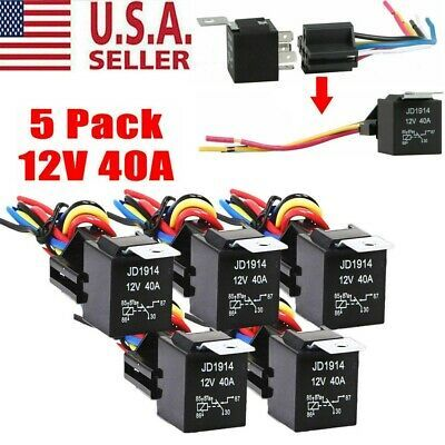 Sponsored Ebay 5pack 30 40 Amp 12v 5 Pin Spdt Automotive Relay With Wires Harness Socket Set In 2020 Relay Socket Set Sockets
