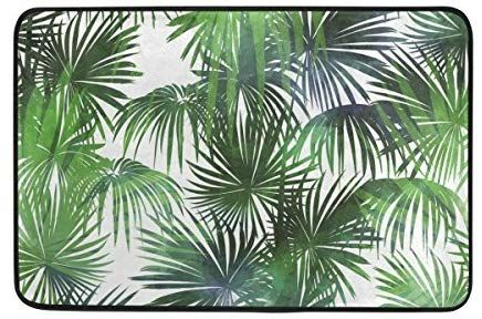 Amazon De Ahomy Rechteckiger Teppich Badteppich Tropical Palm Leaf Polyester Bereich Teppiche Pflanzenblatter Duschmatten Teppich