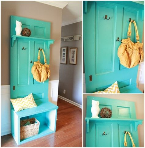 Old door recycled into entryway bench