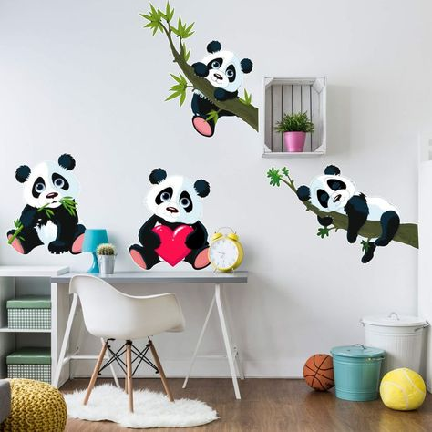 Wandtattoo Tatto Aufkleber Pandabären Set Panda Bär Tier Natur Bambus Kinder