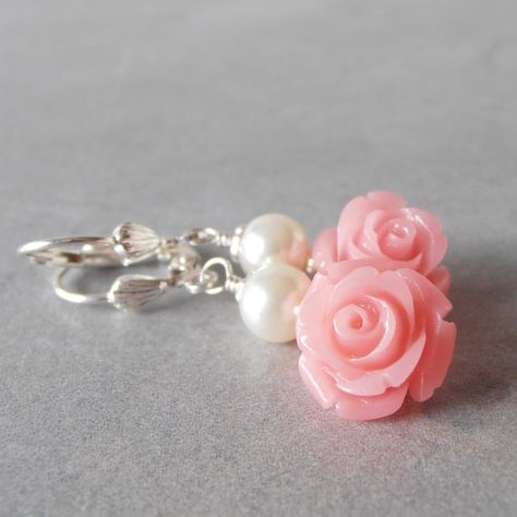 Coral Pink Flower and Pearl Dangle Earrings by FiveLittleGems