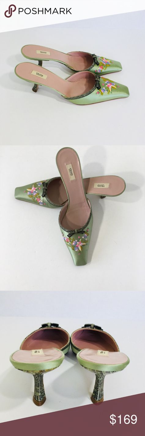 PRADA MINT GREEN SATIN EMBROIDERED FLOWER MULES PRADA MINT GREEN SATIN EMBROIDERED FLOWER MULES. TRENDY AND STYLISH MADE IN ITALY.  THIS  STYLISH DESIGNER MULES ARE ACCENTED WITH A BOUQUET OF FLOWERS.  THE FRONT OF THE SANDAL IS TRIMMED WITH GREEN EMBOSSED LEATHER AND BEAUTIFUL BOWS. MAY HAVE SOME SCUFFS OR SMUDGES SINCE ITS A PRE OWENED SHOE. OVERALL GORGEOUS. THE HEELS ARE COVERED WITH THE SAME LEATHER AS THE TRIM AND BOW WHICH EMULATES REPTILE SKIN. THE SHAPE OF THE HEEL IS UNIQUE. LIKE NEW.