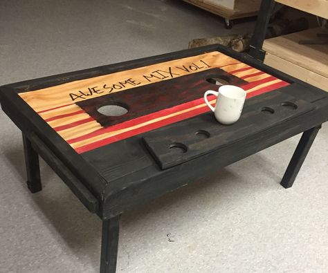 Cassette Tape Coffee Table Guardians Of The Galaxy - Cassette Tape Coffee Table Guardians Of The Galaxy I Am A College Student And A Maker Who Loves Comic Book Movies In My Room Currently I Have A Dozen Marvel Props Posters Or Costumes On Disp Guardians Of The Galaxy, Mini Pallet, Diy Galaxie, Table Cafe, Diy Table, Contemporary Living Room Furniture, Contemporary Houses, Contemporary Bathrooms, Man Cave Home Bar