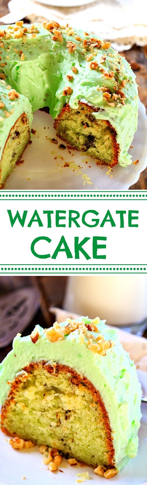Watergate Cake- a vintage cake recipe made from instant pistachio pudding and Crisco Vegetable oil for an extremely moist texture. #ad