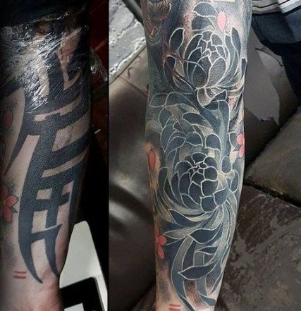48 Trendy Ideas For Flowers Black Tattoo Cover Up Tattoo Flowers Tattoo Sleeve Cover Up Cover Up Tattoos For Men Cover Up Tattoos