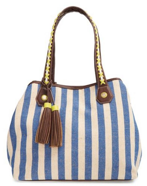Big Buddha striped canvas tote