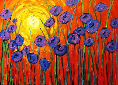 Sunrise Abstract Poppies- Abstract, Huge Contemporary Acrylic on a Extra Large Canvas Commissioned Painting by Patty Baker. $800.00, via Etsy.