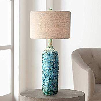 Mid Century Modern Table Lamp Ceramic Tiled Teal Tall Tan Linen