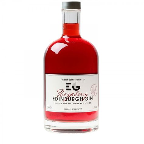 P22 Cezanne Alt 2 font and P22 Bifur font used on Raspberry Infused Edinburgh Gin