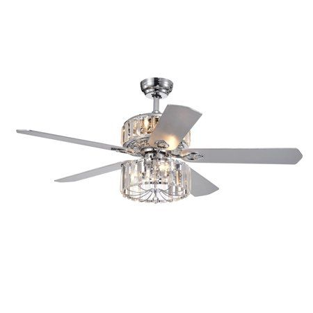 Perris 52 Inch 5 Blade Chrome Lighted Ceiling Fans With 2 Tier Crystal Shade Remote Controlled In 2019 Ceiling Lights Ceiling Fan Ceiling Light Fixtures