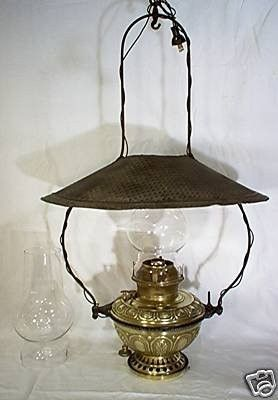Rare Antique Bradley And Hubbard 89 Hanging Store Lamp Electrified Oil Lamp The B H 89 Is Rarely Seen In It S Complete State This Lamp Antiques Oil Lamps