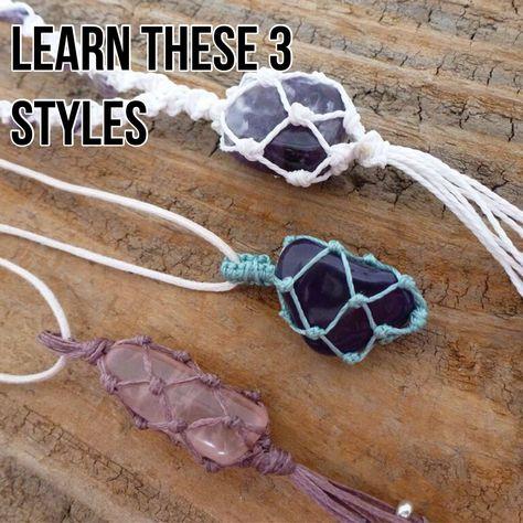 Screen Macrame projects stone wrapping Tips TUTORIAL Macrame Stone Bag / Macrame Net Bag Tutorial / Knotty Macrame Necklace, Macrame Bracelets, Diy Necklace, Pendant Necklace, Macrame Jewelry Tutorial, Yoga Bracelet, Wire Earrings, Beaded Bracelet, Wire Jewelry