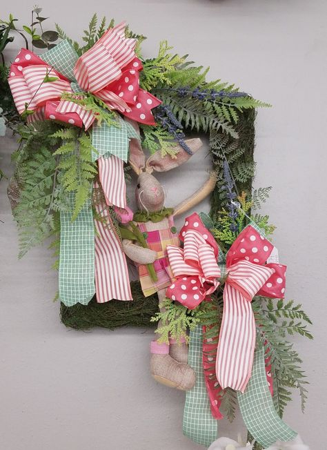 Square Wreath With Moss Easter Bunny Spring Ribbons Designed