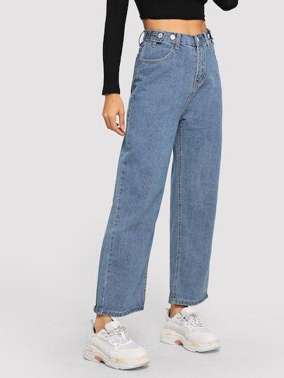 Clic A Ver Los Detalles De Vaqueros Anchos Con Boton Comprar Tus Favoritos Con Mas Infromacion Pantalones Jeans De Moda Jeans De Moda Ropa Estetica