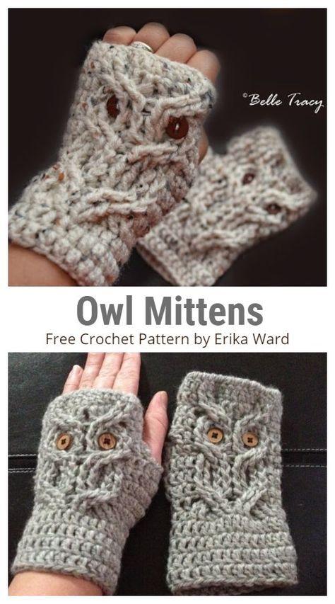 Crochet Owl Applique, Owl Crochet Pattern Free, Crochet Owl Hat, Crochet Cable, Easy Crochet, Free Crochet, Crochet Ideas, Crochet Fingerless Gloves Free Pattern, Mittens Pattern