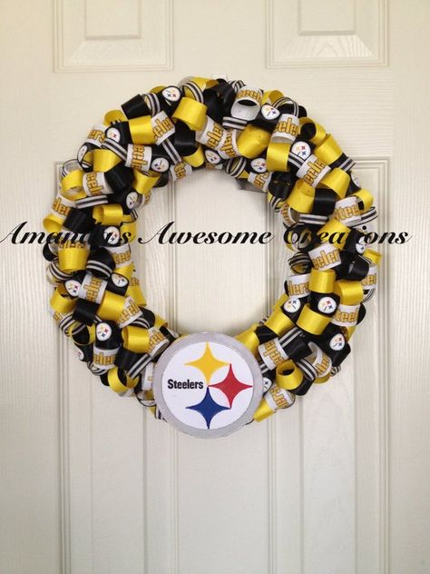 Steelers Football Wreath; Christmas in July Sale; Gifts for him; Gifts for her; Gifts Under 50